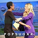 Kate Hudson hugged host Robin Roberts.