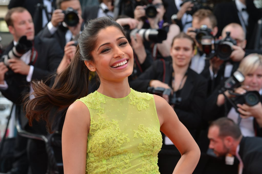 A ponytail may be one of the most basic updos around, but most people need extensions to get Freida's extralong pony from Cannes 2013.