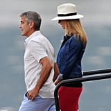 Stacy Keibler hung out at Lako Como with George Clooney.