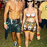 Johnny Wujek and Katy Perry (wearing Dolce & Gabbana and a vintage Lulu Guinness handbag) at Coachella in Indio, CA. Source: David X Prutting/BFAnyc.com