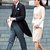 Kate's flawless finish for this look? The duchess relied again on her classic nude LK Bennett pumps.