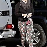 Hilary Duff kept warm in a scarf.