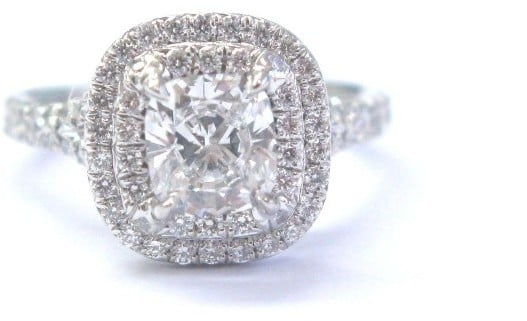 Tiffany & Co. Platinum Cushion Cut Diamond Soleste Engagement Ring ($11,500)