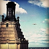 Space shuttle Enterprise over New York City.  Source: Instagram User paul6