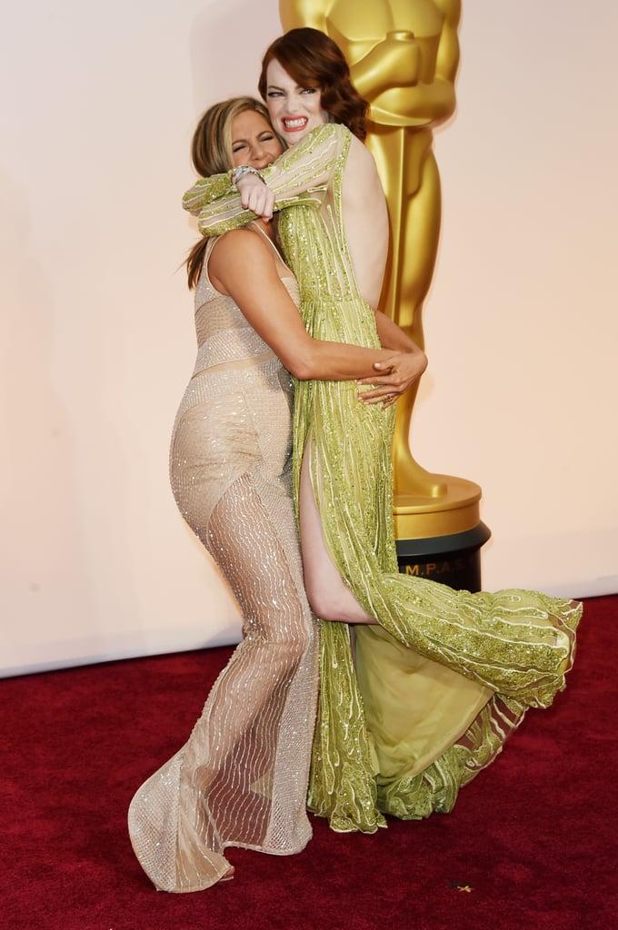 Jennifer Aniston Picking Up Emma Stone at the Oscars 2015