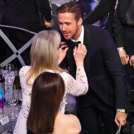 Meryl Streep Fixing Ryan Gosling's Tie at 2017 SAG Awards