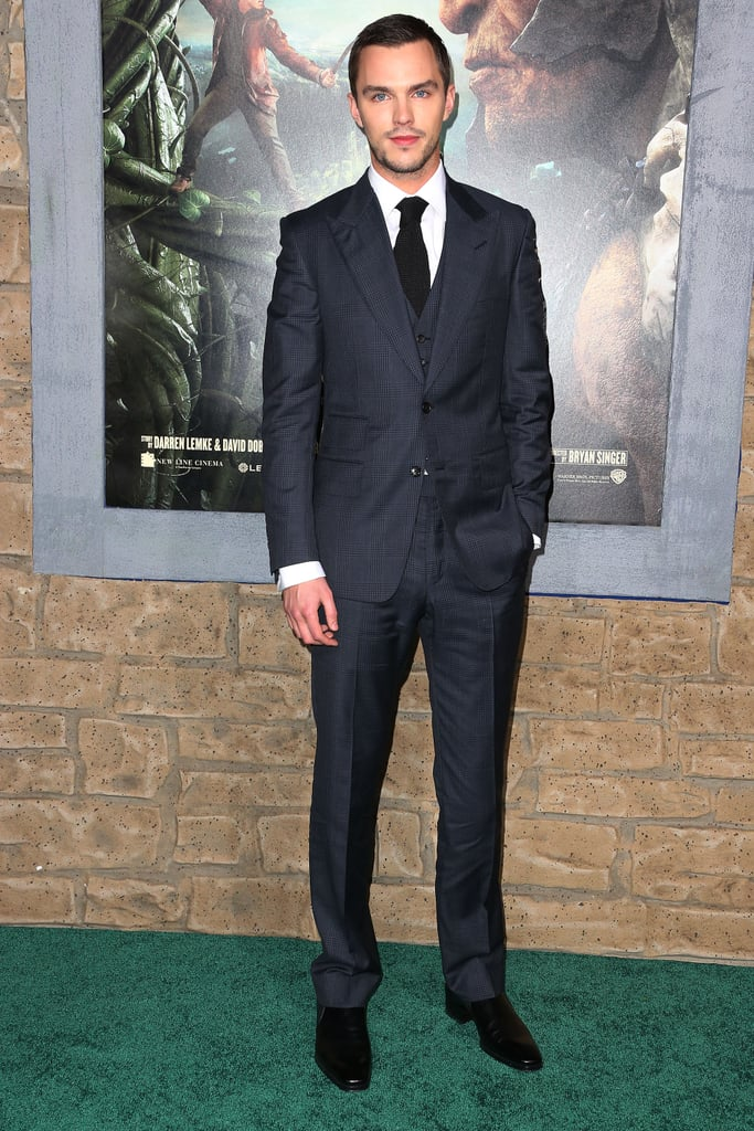 Nicholas Hoult posed on the green carpet.