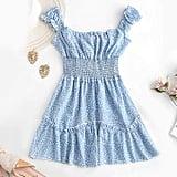 Zaful Smocked Printed A-Line Dress
