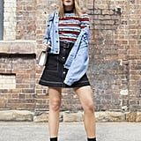 Style a Retro Mini With Statement Boots and a Denim Jacket