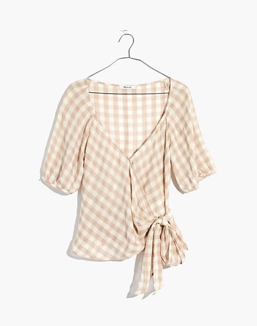 Madewell Sweetheart Wrap Top in Gingham