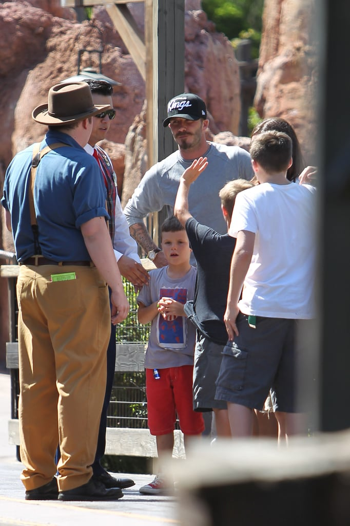 David Beckham and his boys, Brooklyn Beckham, Romeo Beckham, and Cruz Beckham enjoyed Disneyland together.