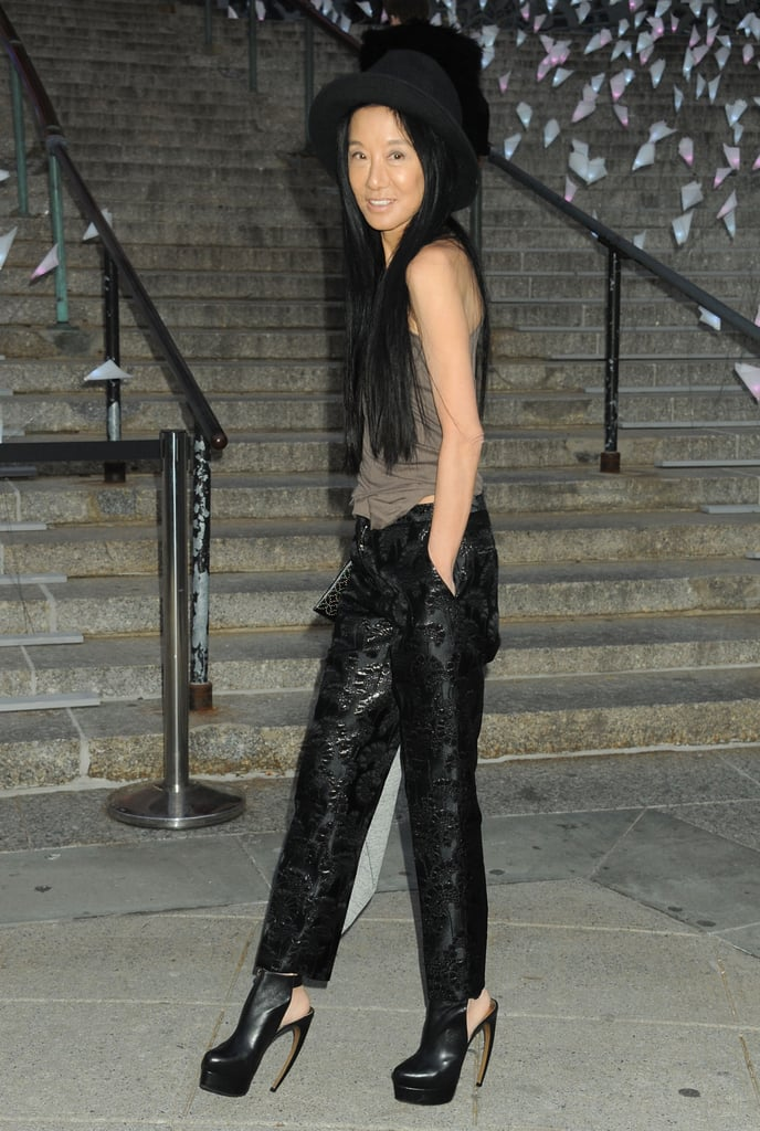 Vera Wang put a serious accessory-focused spin on her look last night, opting to wear curve-heeled platforms and a Mad Hatter-style hat.