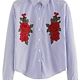 Romwe Embroidered Floral Blouse