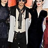 Johnny Depp posed with Eva Green and Bella Heathcote in London.