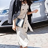 Meghan Markle Fall Outfit Idea: A Striped Dress and Blazer