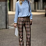 Plaid pants make for a preppy alternative to denim or black slacks.