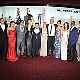 Pictured: Luke Evans, Michelle Rodriguez, Ludacris, Gal Gadot, Paul Walker, Justin Lin, Elisa Pataky, Vin Diesel, Gina Carano, Tyrese Gibson, and Sung Kang