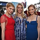 Busy Philipps, Jessica Chastain, and Michelle Williams on the 2012 SAGs red carpet.