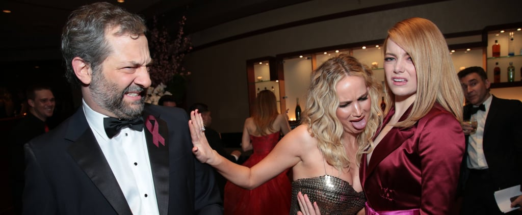 LOL! The Oscars Moment You Missed Between Jennifer Lawrence, Emma Stone, and Judd Apatow