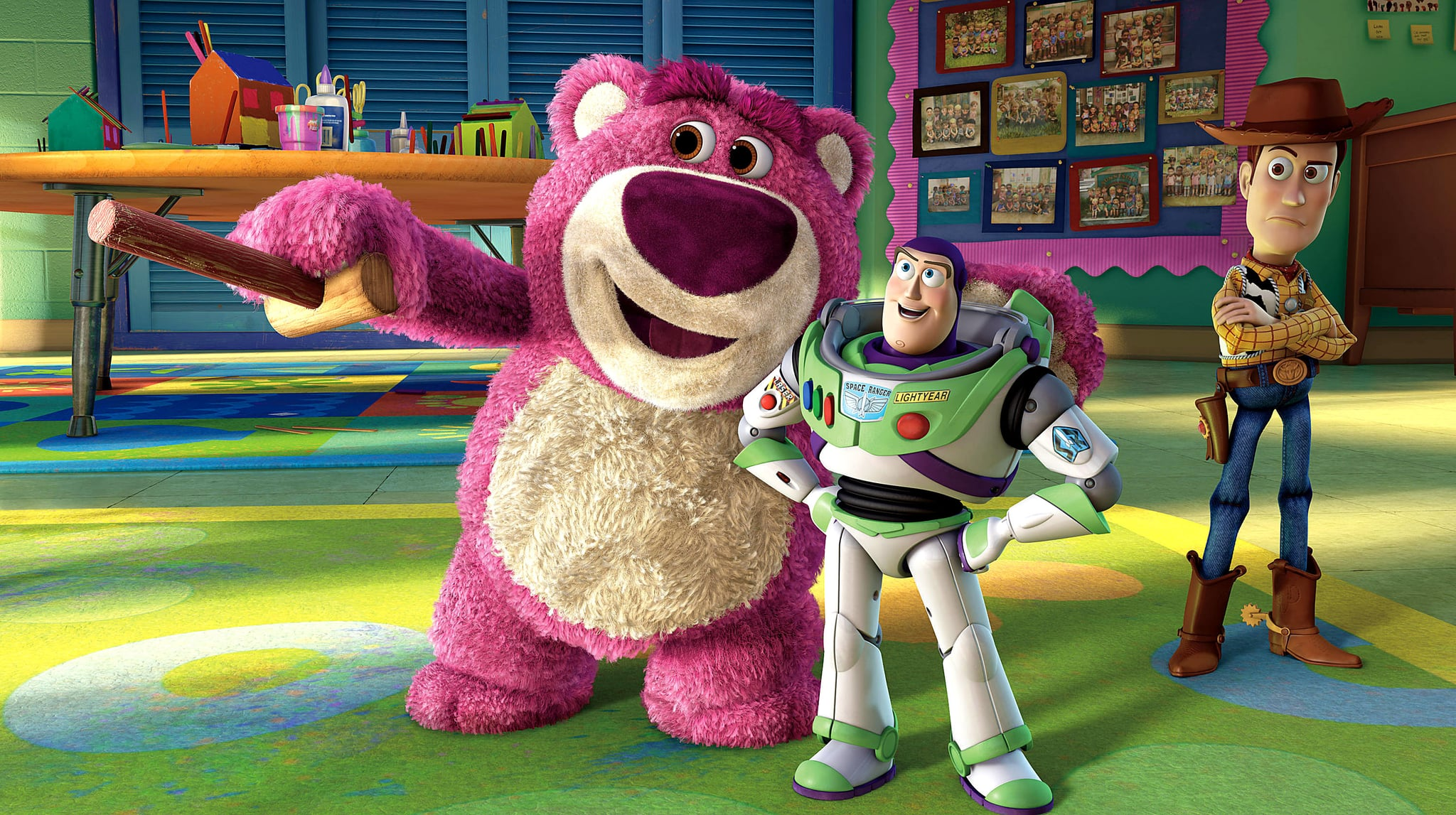 TOY STORY 3, from left: Lotso (voice: Ned Beatty), Buzz Lightyear (voice: Tim Allen), Woody (voice: Tom Hanks), 2010. Buena Vista Pictures/courtesy Everett Collection