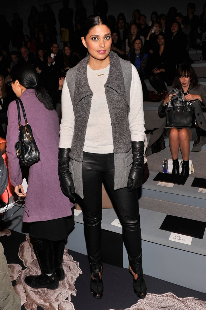 At Vera Wang, designer Rachel Roy layered up in a a cozy sweater, two-tone vest, leather pants, and leather gloves.