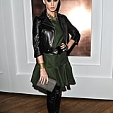 Katy Perry wore a toned-down outfit for the YSL Fall '12 show.