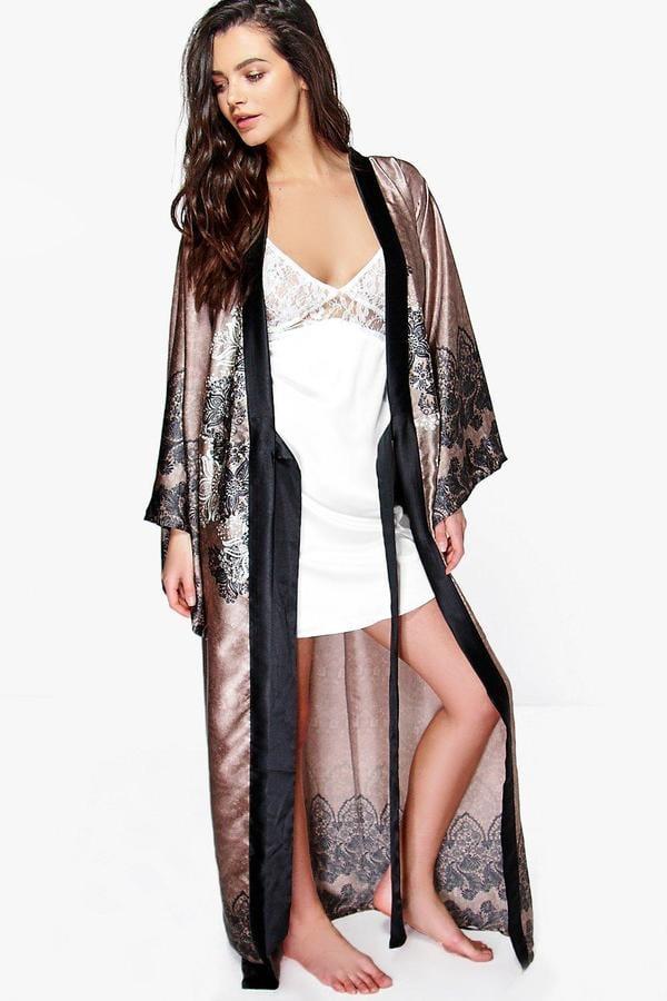 Boohoo Aimee Paisley Satin Maxi Kimono Night Robe  8e28dec57