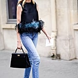 Wear Them With a Feather-Trimmed Top
