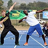 Prince Harry prepared to race Usain Bolt in Jamaica.