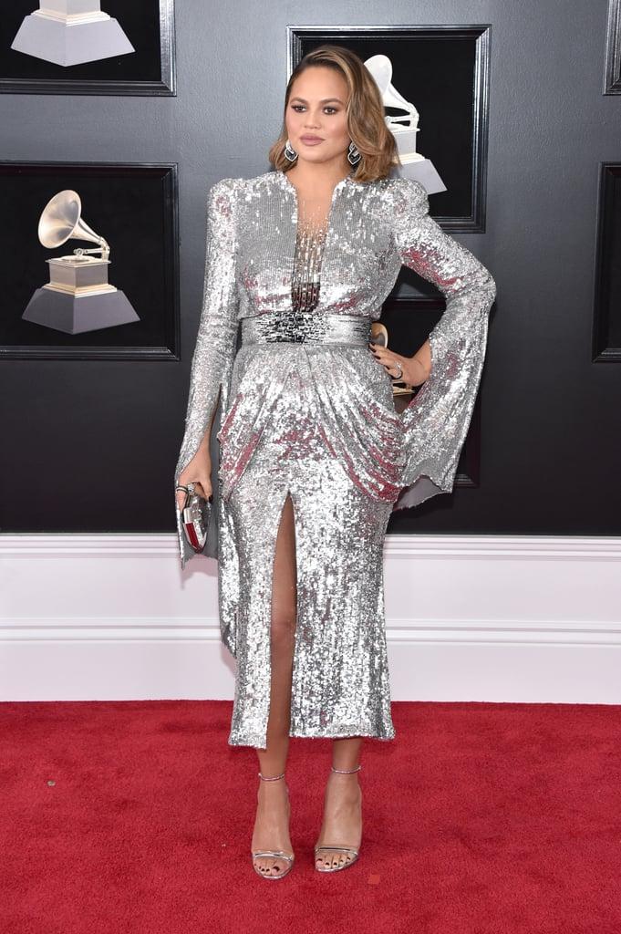 Chrissy Teigen Silver Dress at the Grammys 2018