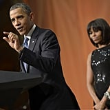 Michelle Obama watched her husband Barack speak at the inaugural reception.