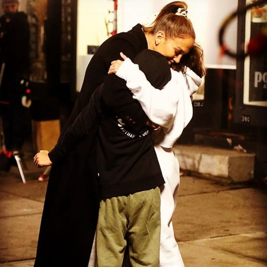 Jennifer Lopez's Kids Surprise Her With Hugs on Set | Photo