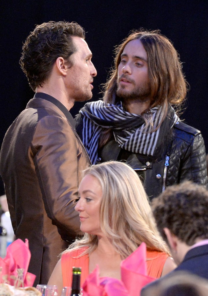 Dallas Buyers Club costars Matthew McConaughey and Jared Leto got up in the audience.