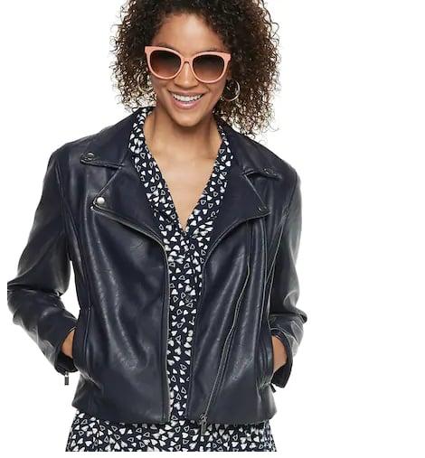 Crop Faux-Leather Moto Jacket
