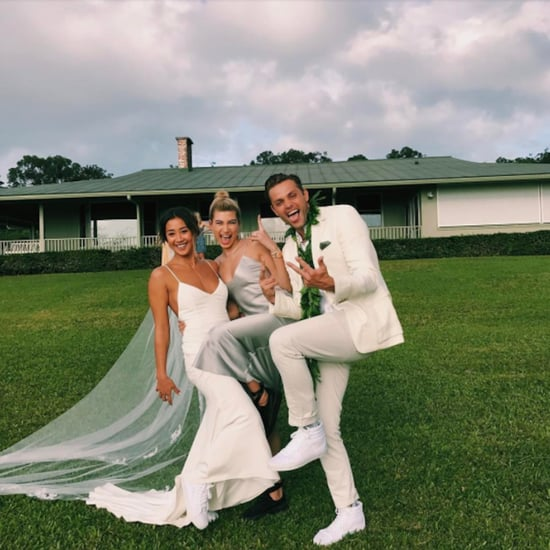 Hailey Baldwin Silver Wedding Guest Dress and Sneakers