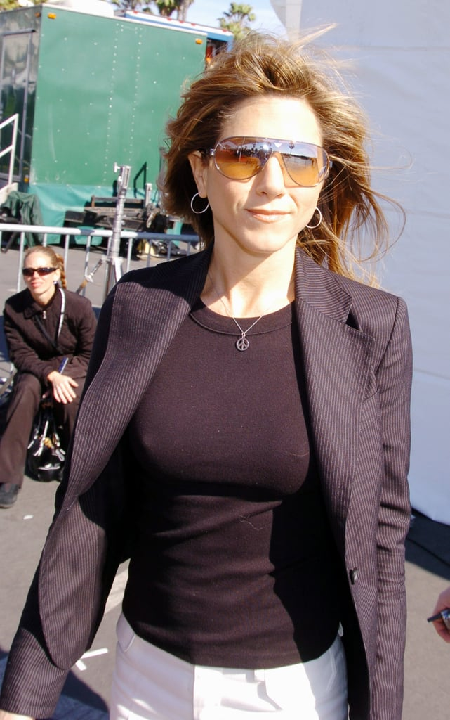 Jen opted for these Armani shield-style sunglasses with a blazer in Santa Monica in '04.