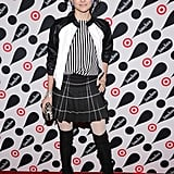 Alice + Olivia's Stacey Bendet made her way down the red carpet in a plaid skirt and stripes.