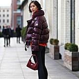 Wear a Statement-Making Puffer With Colorful Sneakers