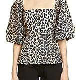 Ganni Leopard Print Puff Sleeve Blouse