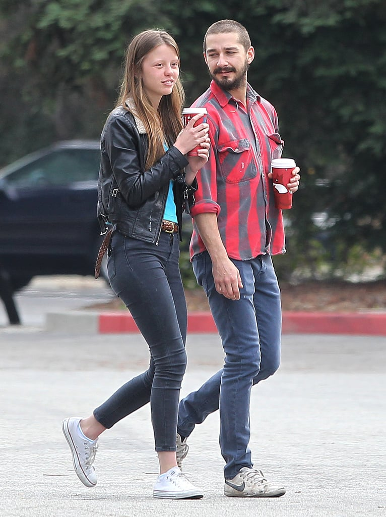 Shia LaBeouf and his new girlfriend Mia Goth got into the holiday spirit in LA last week. The duo, who met during the Fall on the set of their joint Lars von Trier project, Nymphomanic, showed PDA after picking up coffees Saturday. They sat to have their drinks and check out the flowers at Descanso Gardens.  Shia got together with British-born Mia after calling it quits with his former significant other Karolyn Pho. We had a first look at Shia and Mia together at a September photocall with the cast of Nymphomanic. The 26-year-old Shia and 19-year-old Mia hung out near his home base in LA, but have also logged time together at her place in London. In November, Shia visited with Mia and her mom in the South London neighborhood of New Cross, and he made headlines by getting into a small fight at a local pub.
