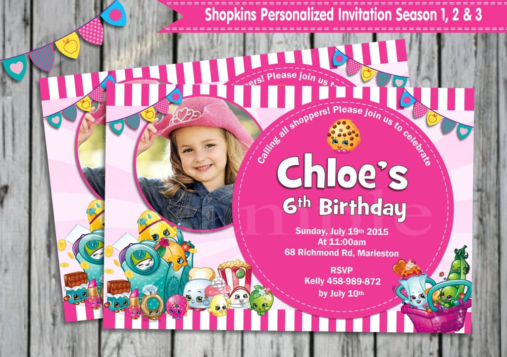 Shopkins Custom Photo Invitation 9