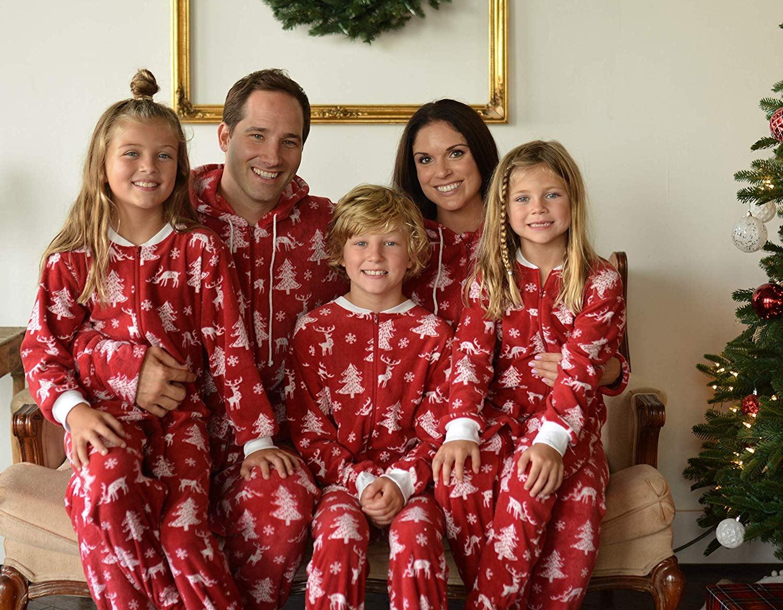 Webuyii Family Matching Pyjamas Set Christmas Pjs Cotton Cartoon Bear Print Dad Mom Kids Holiday Nightgown Sleepwear