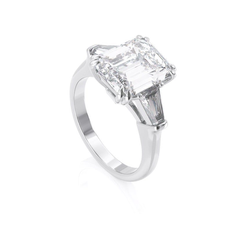 Emerald Cut and Tapered Moissanite Baguettes Three Stone ... - photo#5