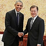 Here he is shaking hands with South Korean president Moon Jae-in in Seoul.