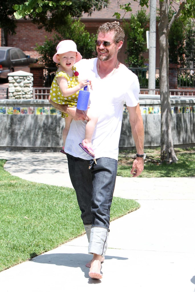 Eric Dane had Billie in his arms and a smile on his face at Coldwater Park in Beverly Hills yesterday. He spent the sweet day with his daughter now that he's returned home from a stint in rehab. Eric voluntarily checked himself into a treatment facility earlier this Summer in order to overcome a battle with a pain medication that was prescribed to him following a sports injury. The actor completed his 30-day program and returned to work on the eighth season of Grey's Anatomy late last month. Eric looked happy and healthy during his latest outing and he has even more reason to celebrate since his wife, Rebecca Gayheart, who rang in her 40th birthday last week, is reportedly pregnant with the couple's second child.