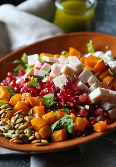 Chopped Turkey Salad With Pomegranate, Goat Cheese, and Squash