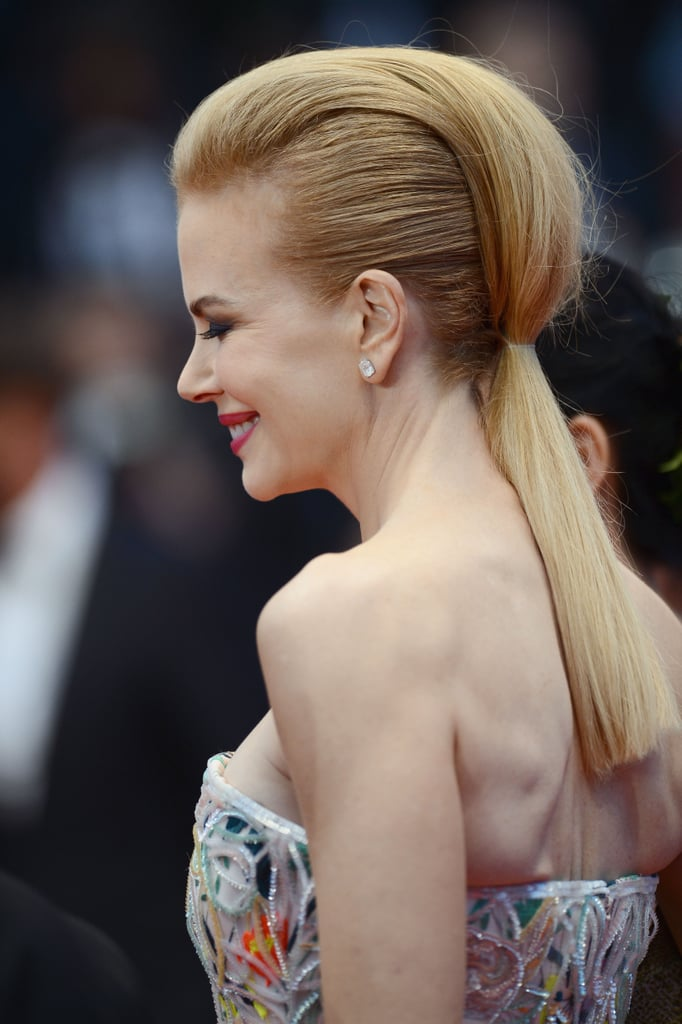 At the Cannes opening ceremony, Nicole Kidman wore a hairstyle from the future. It was a combination of a sleek ponytail and pompadoured coif that really had people talking.
