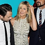 Charlie Day, Jennifer Aniston, and Jason Sudeikis in London.