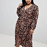 Influence Leopard-Print Midi Dress With Ruffle