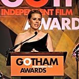 Amy Adams accepted an award on stage.